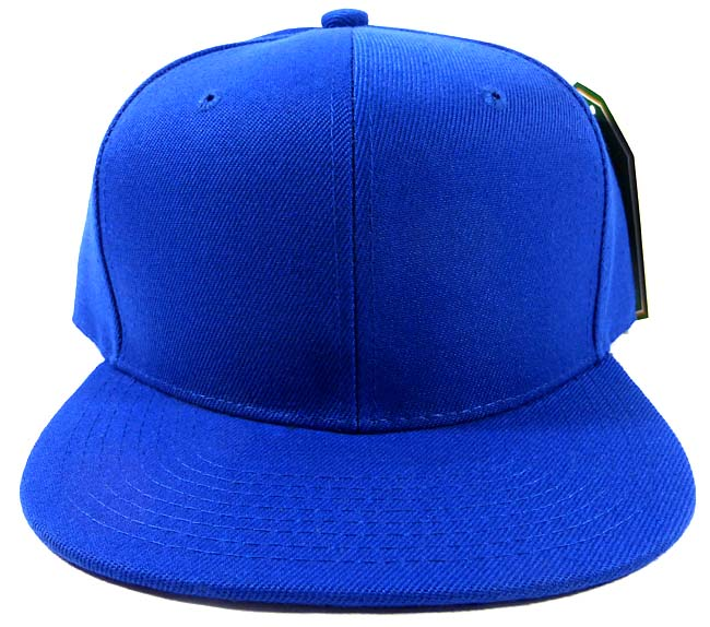 Wholesale Blue Blank Snapback Hats Caps - Flat Bill Plain ...