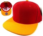 Blank Snapback Hats & Caps Wholesale - Red | Golden Yellow Brim