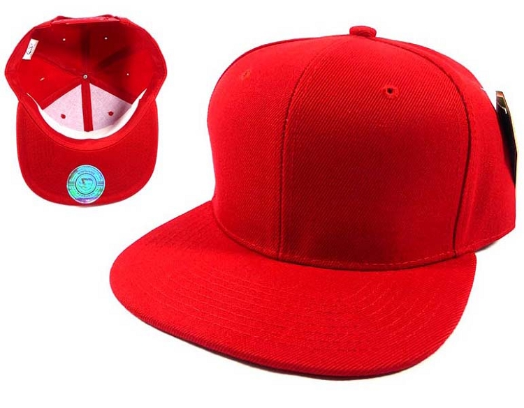 Wholesale Blank Snapback Hat Red - Plain Ball Flat Bill ...