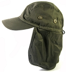 Ear Flap Baseball Cap Style Sun Protection Hats Wholesale - Olive Green