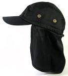 Ear Flap Baseball Cap Style Sun Protection Hats Wholesale - Black