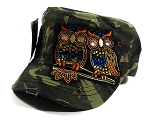 Wholesale Bling Owl Cadet Hats Caps - Camo