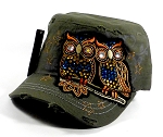 Wholesale Bling Owl Cadet Hats Caps - Dark Green