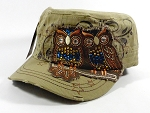 Wholesale Bling Owl Cadet Hats Caps - Khaki