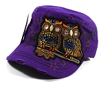 Wholesale Bling Owl Cadet Hats Caps - Purple