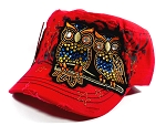 Wholesale Bling Owl Cadet Hats Caps - Red
