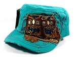 Wholesale Bling Owl Cadet Hats Caps - Turquoise