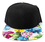 Wholesale Blank Floral Snapback Hat - Black | Multicolored Flower Brim