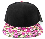 Wholesale Blank Floral Snapback Hat - Black | Pink Flower Brim