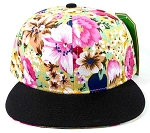 Wholesale Blank Floral Snapback Hats Caps - Hawaiian Flower | Black Brim