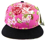 Wholesale Blank Floral Snapback Hats Caps - Pink Flowers | Black Brim
