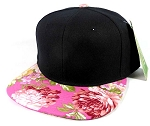 Wholesale Blank Floral Snapback Hats Caps - Black | Pink Flower Brim
