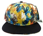 Wholesale Blank Floral Snapback Hats Caps - Wild Flowers | Black Brim