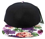 Wholesale Blank Floral Snapback Hats Caps - Black | Purple Flower Brim