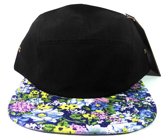 5 Panel Floral Camp Hats Caps Wholesale - Black