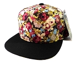 Blank Floral Snapback Hats Caps Wholesale - Burgundy Flowers | Black