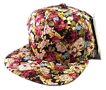 Blank Floral Snapback Hats Caps Wholesale - Burgundy Flowers