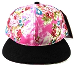 Blank Floral Snapback Hats Caps Wholesale - Pink Flowers | Black