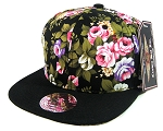 Blank Vintage Floral Snapback Hats Wholesale - Black Large Flowers Crown | Black Brim