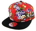 Blank Vintage Floral Snapback Hats Wholesale - Red Large Flowers | Black Brim