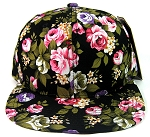 Blank Floral Snapback Hats Wholesale - Black Large Flowers | All Floral