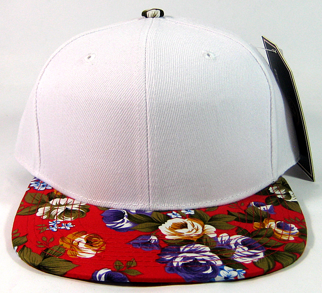 Plain Floral Snapback Caps Wholesale - White | Red Large ...