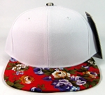 Plain Floral Snapback Caps Wholesale - White | Red Large Flower