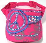 Rhinestone Peace Sign Bling Visor Hats Wholesale - Hot Pink