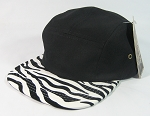 Blank 5 Panel Camp Hats/Caps Wholesale - Zebra Black