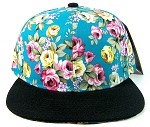 Wholesale Blank Floral Snapback Hats - Blue & Pink Flowers | Black Brim