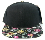 Wholesale Blank Floral Snapback Hats - Black Crown | Black & Pink Flower Brim