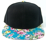 Wholesale Blank Floral Snapback Hats - Black Crown | Blue & Pink Flower Brim