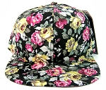 Wholesale Blank Floral Snapback Hats - All Floral | Black & Pink/Yellow