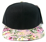 Wholesale Blank Floral Snapback Hats - Black Crown | Pink Flower Brim