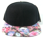 Wholesale Blank Floral Snapback Hats - Black Crown | Pink & Blue Flower Brim