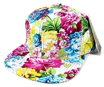 Wholesale Blank Floral Snapback Hats Caps - Multicolored Flower