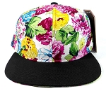 Wholesale Plain Floral Snapback Hats Caps - Multicolored Flower | Black Brim