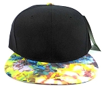 Blank Floral Snapback Hats Caps Wholesale - Black | Yellow & Blue Flower