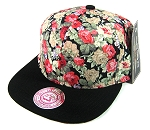 Wholesale Blank Floral Snapbacks Hats - Red Flowers | Black Brim