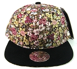 Wholesale Blank Floral Snapbacks Hats - Wild Flowers | Black Brim