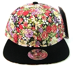 Wholesale Blank Floral Snapbacks Hats - Var Red Flowers | Black Brim