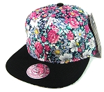 Wholesale Blank Floral Snapbacks Hats - Daisy Flowers | Black Brim