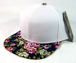 Blank Retro Floral Snapbacks Hat Wholesale - White | Navy Brim | Large Flower