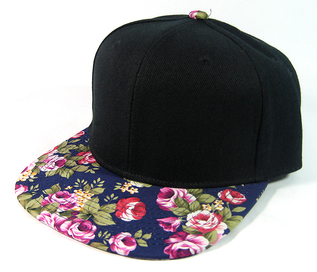 Blank Retro Floral Snapback Hats Wholesale Black Navy