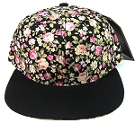 Blank Retro Floral Snapback Hats Wholesale - Black & Small Pink Flowers | Black Brim