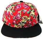 Blank Retro Floral Snapback Hats Wholesale - Red Flower Crown | Black Brim