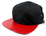 Wholesale 5 Panel Croc Camp Hats Caps - Black | Red Alligator
