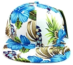 Floral Snapback Hats Caps Wholesale - Blue Hawaiian Hibiscus Flowers