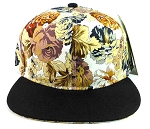 Floral Snapback Hats Caps Wholesale - Brown Multicolored Flowers | Black