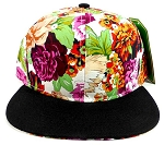 Floral Snapback Hats Caps Wholesale - Multicolored Flowers | Black